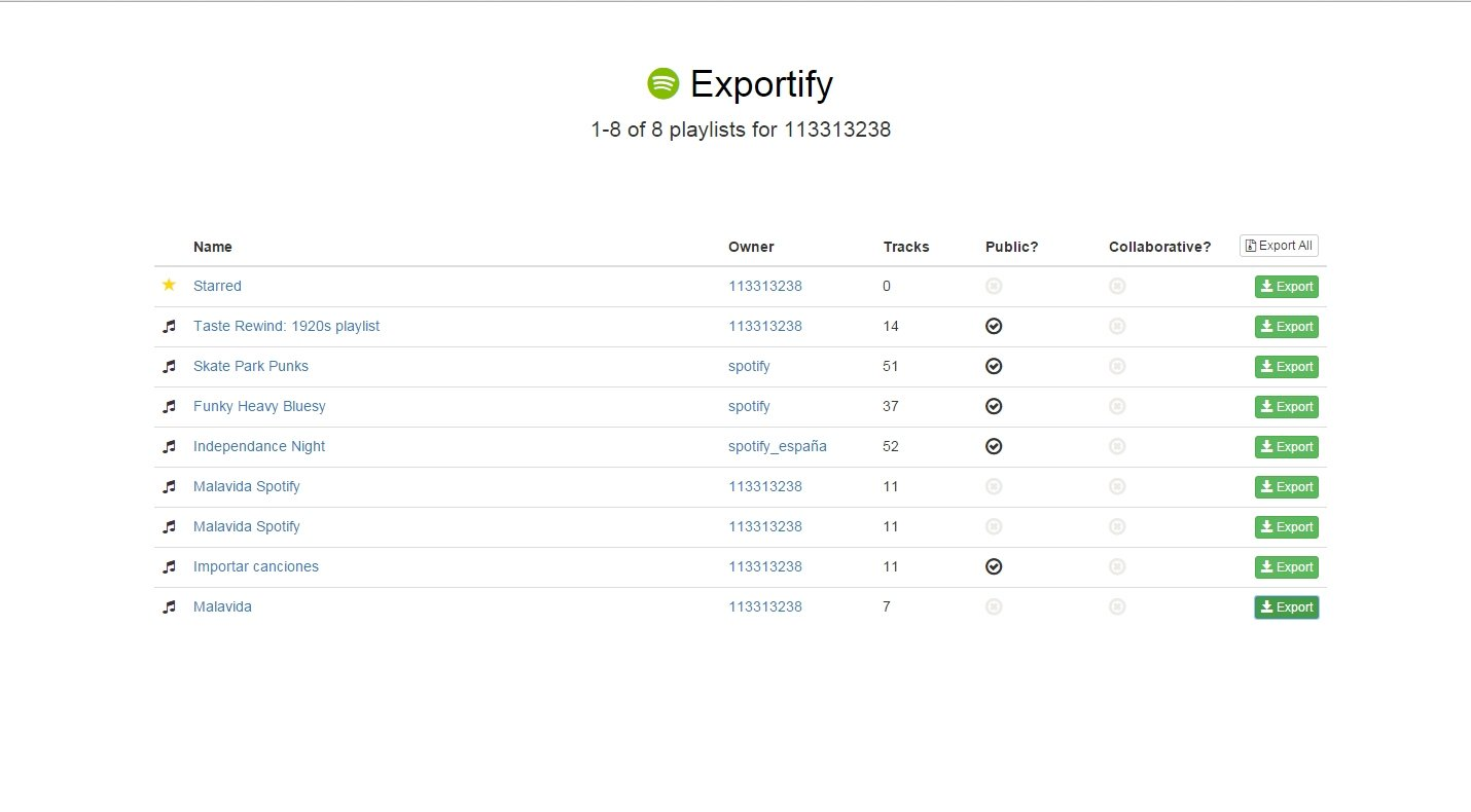 Exportify Webapps image 2