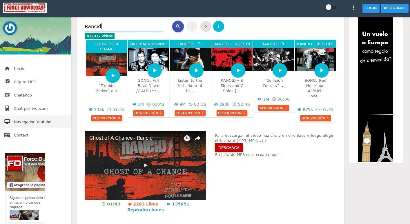 Force Download - Descargar y convertir vídeos YouTube Online