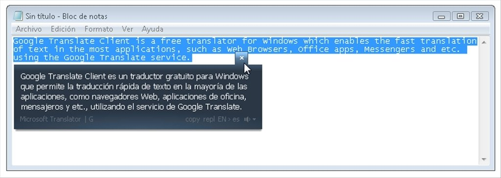 google translate application for pc