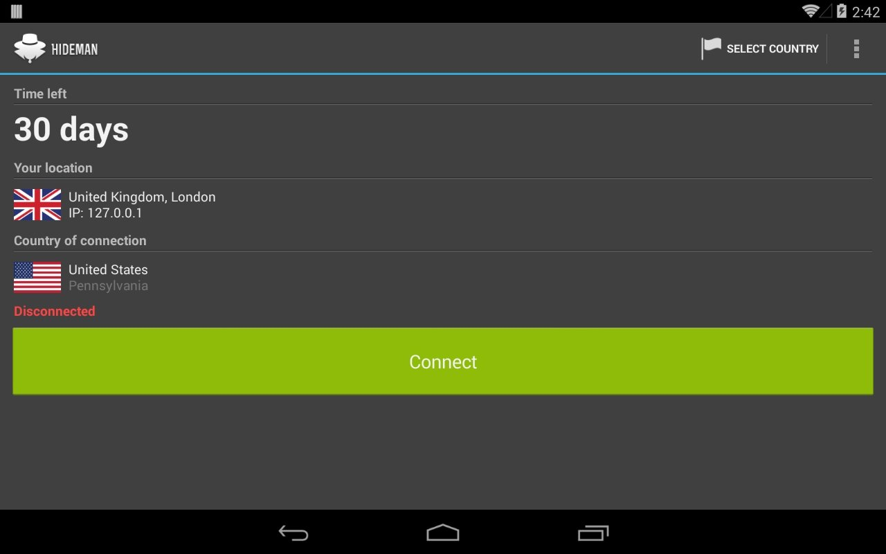 Hideman VPN Android image 5