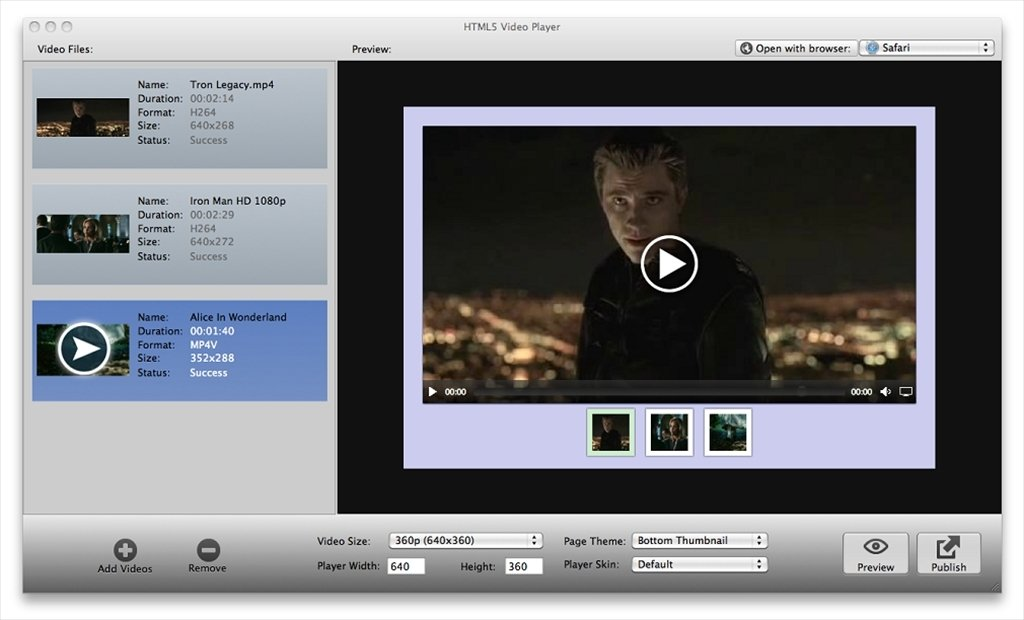 HTML5 Video Player Mac image 4