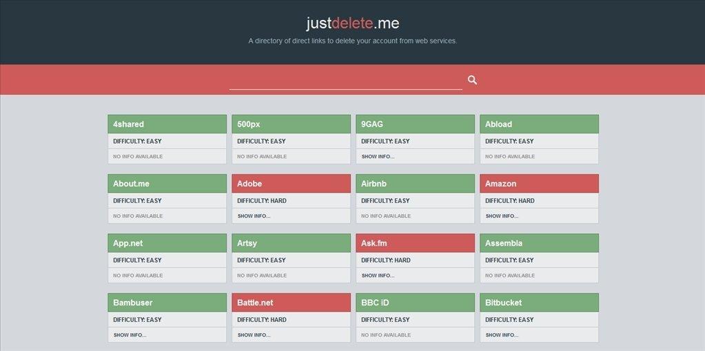 Justdelete.me Webapps image 3