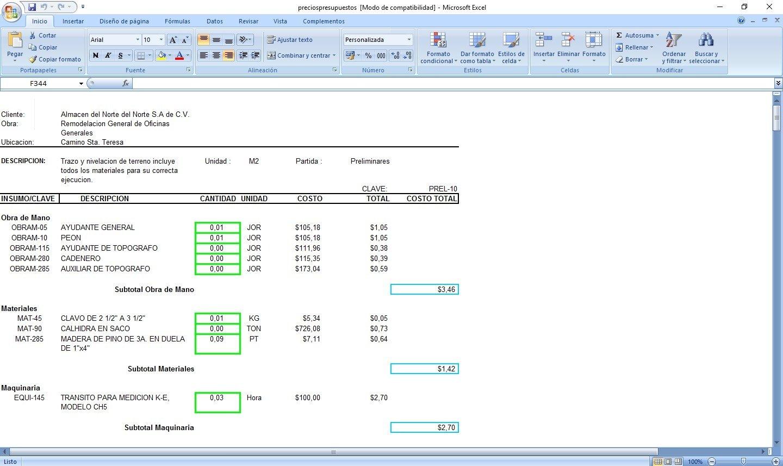 Descargar matrices de precios unitarios y presupuestos 3 0 for Presupuesto de obra de construccion pdf