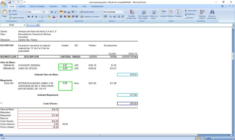 matrices de precios unitarios y presupuestos 3 0 descargar para pc