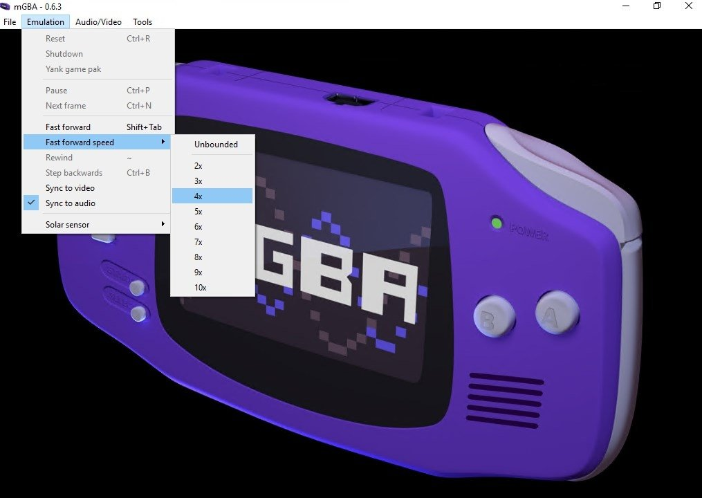 gba emulator psp fast forward