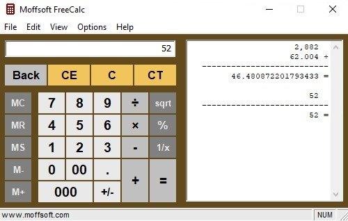Moffsoft FreeCalc image 2