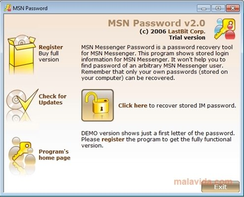 MSN Password 2 0 384 - Download for PC Free