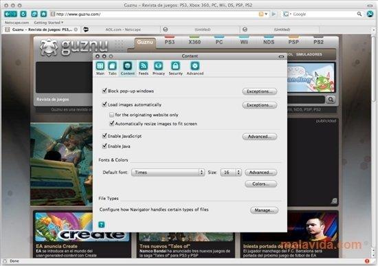 Screenshots of Netscape Navigator