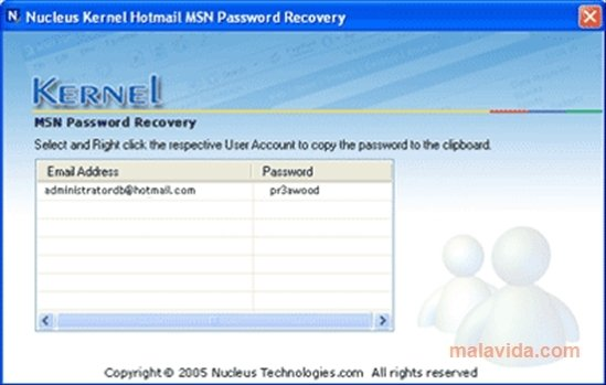 Nucleus Kernel Hotmail MSN Password Recovery image 3