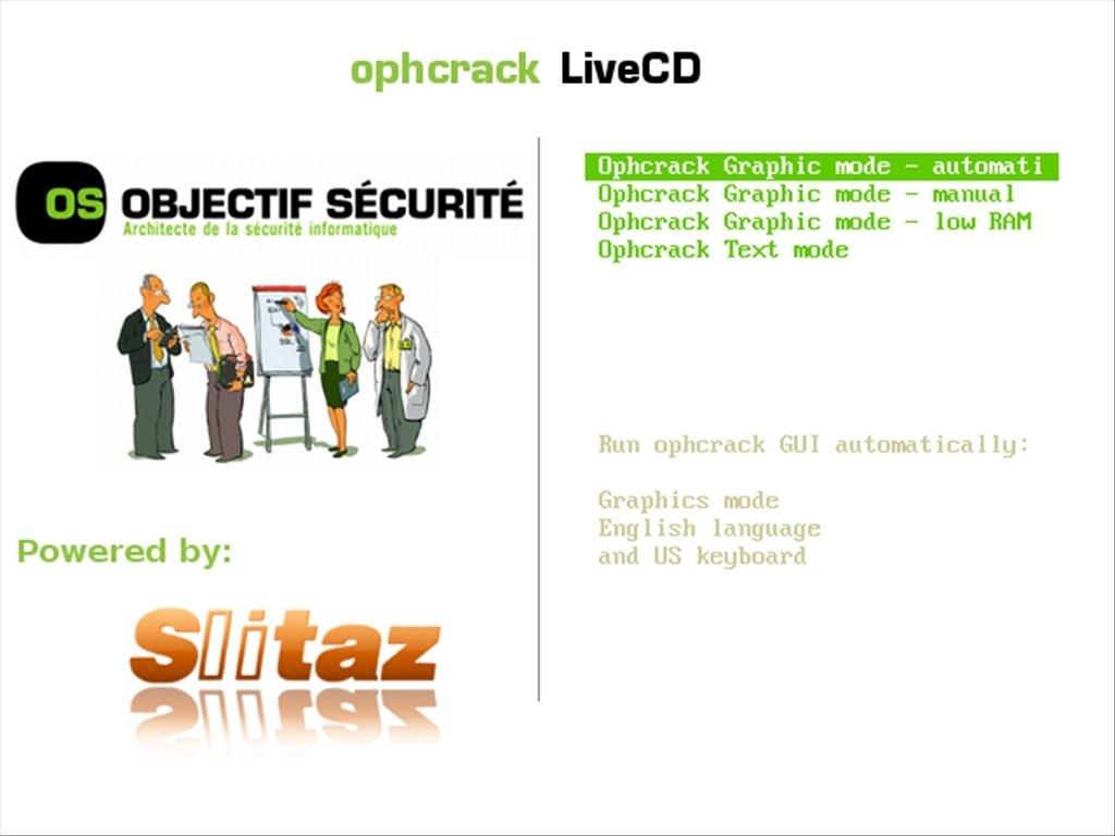 Ophcrack image 2