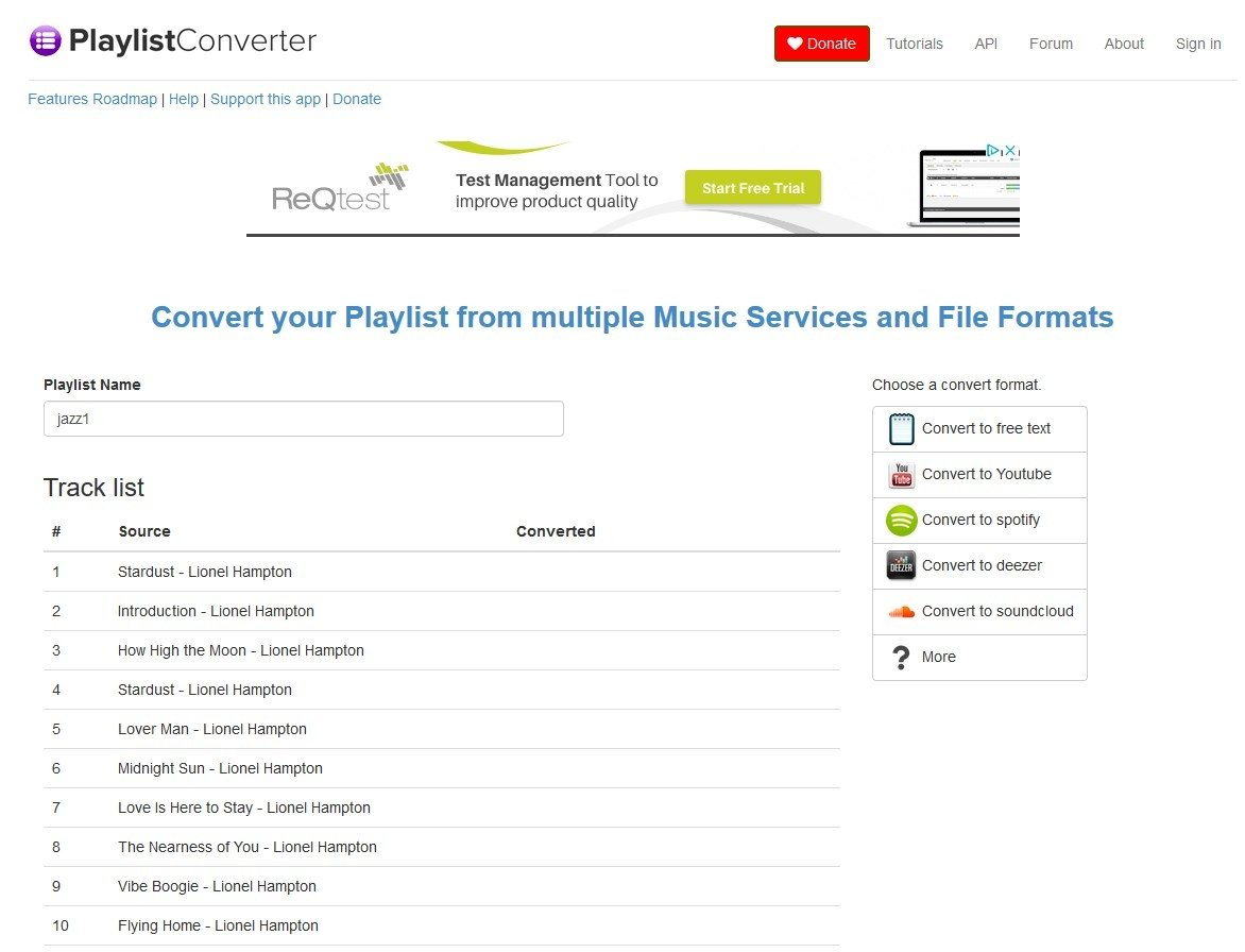 Playlist Converter Online (English) - Free
