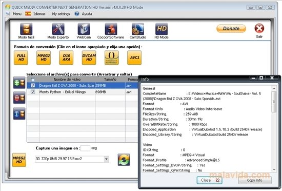 Versions of quick media converter hd available for download.