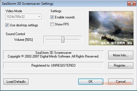 Screenshots of sea storm 3d screensaver.