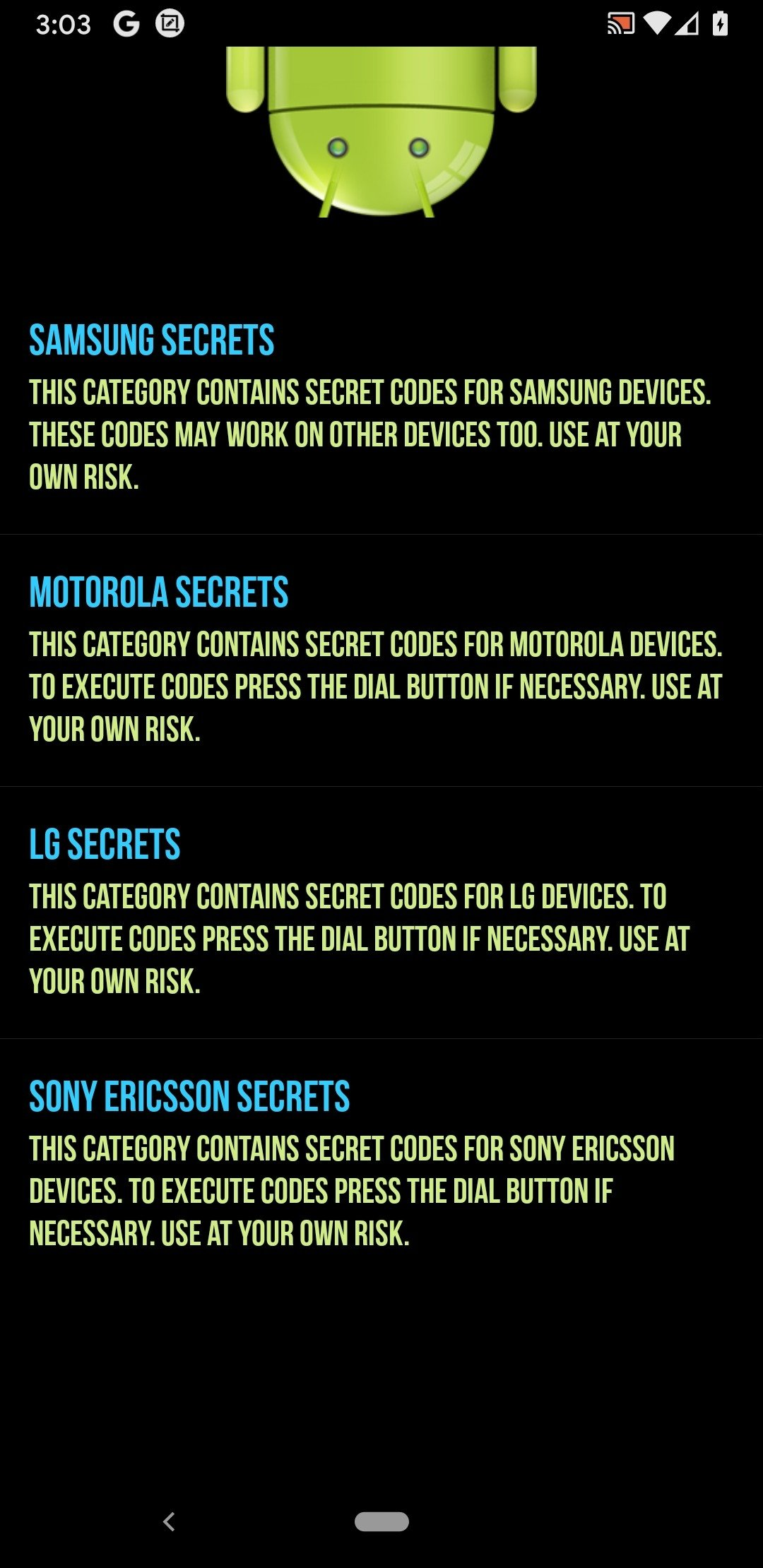 Secret Codes for Android Android image 3