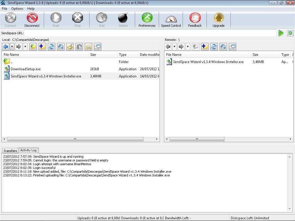 SendSpace Wizard 1.3.4