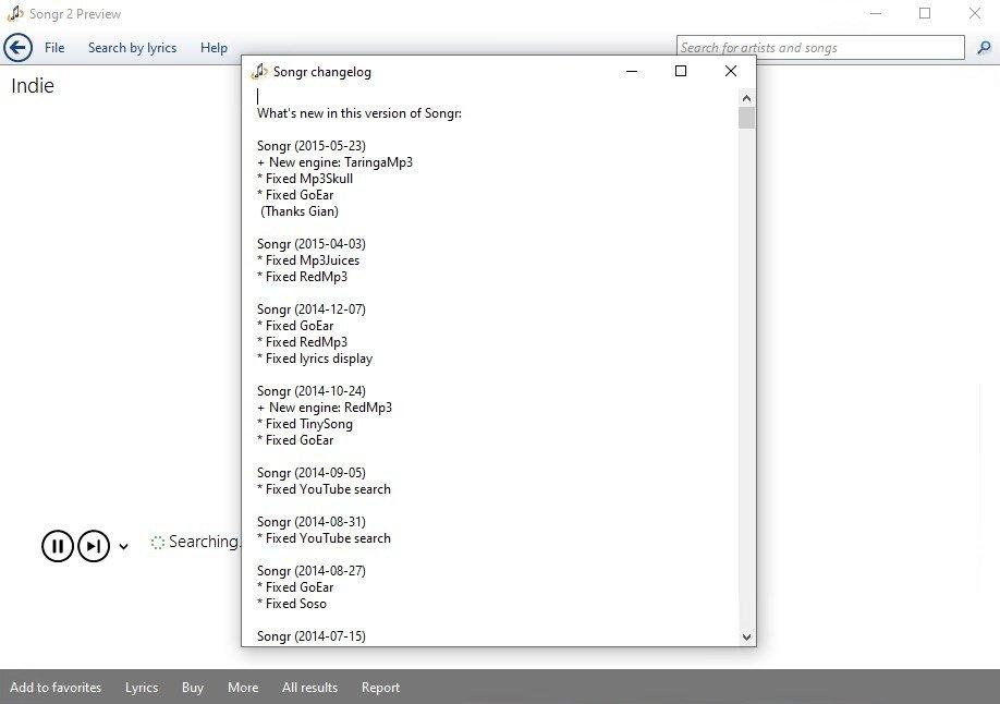 songr per windows 8.1