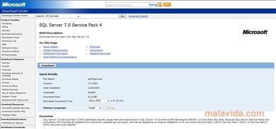 SQL Server 7 SP4 Service Pack 4 - Download for PC Free