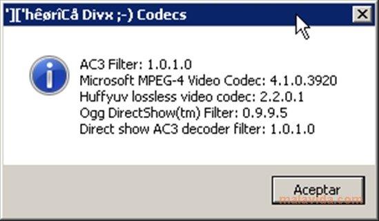 theorica divx codecs