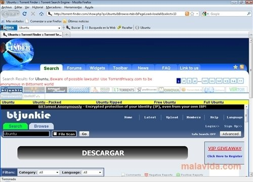 Torrent Finder Firefox Toolbar 1.3