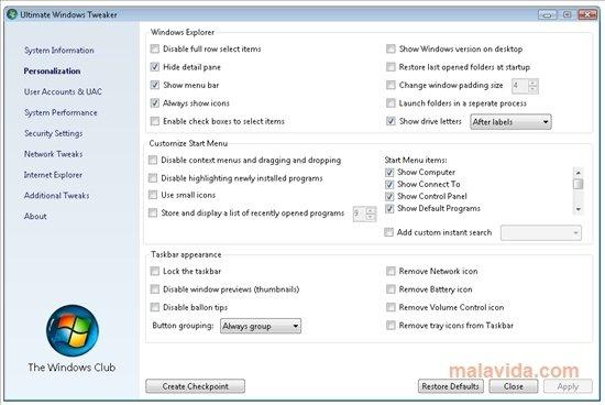 Ultimate Windows Tweaker image 4
