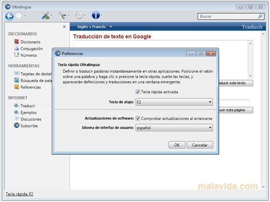 ultralingua dictionnaire français espagnol espagnol français gratuit