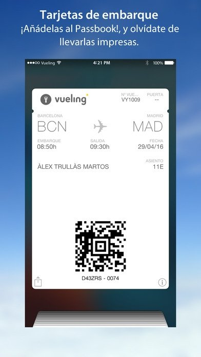 carte d embarquement vueling Vueling Airlines   Download for iPhone Free