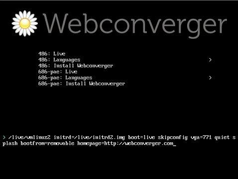 Webconverger Linux image 2