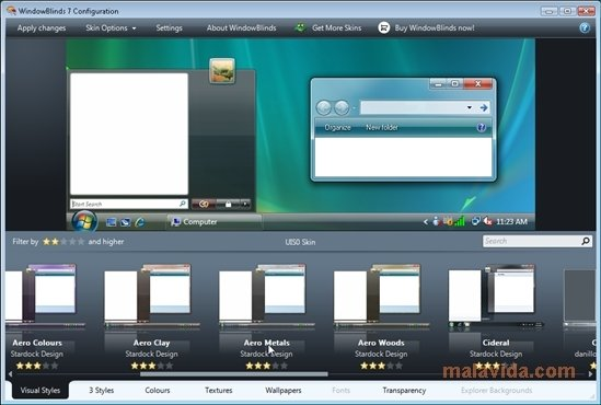 Przykładowe ekrany WindowBlinds.