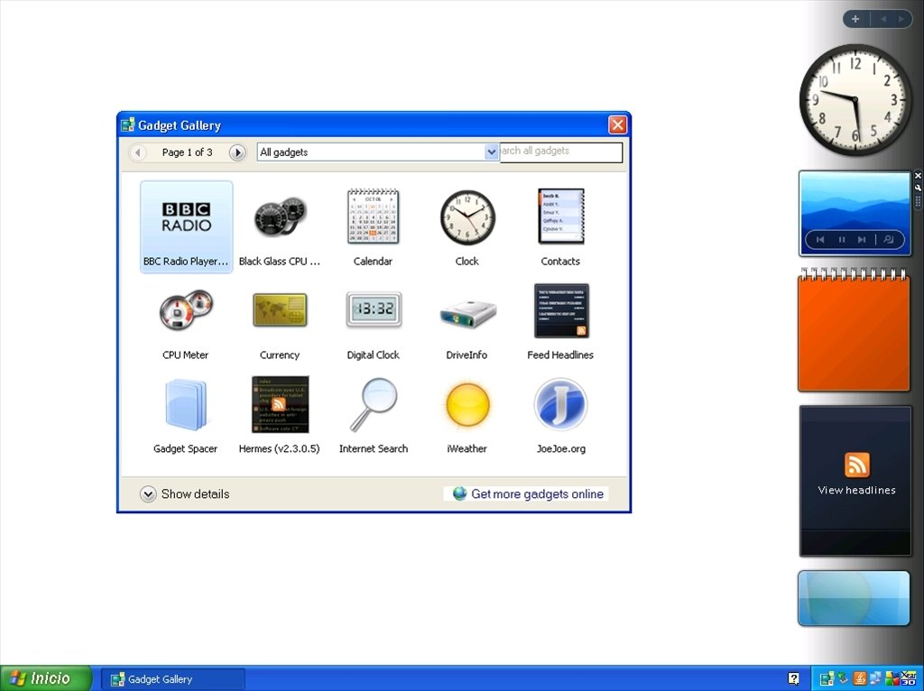 Download windows sidebar xp 6. 0 for pc free.