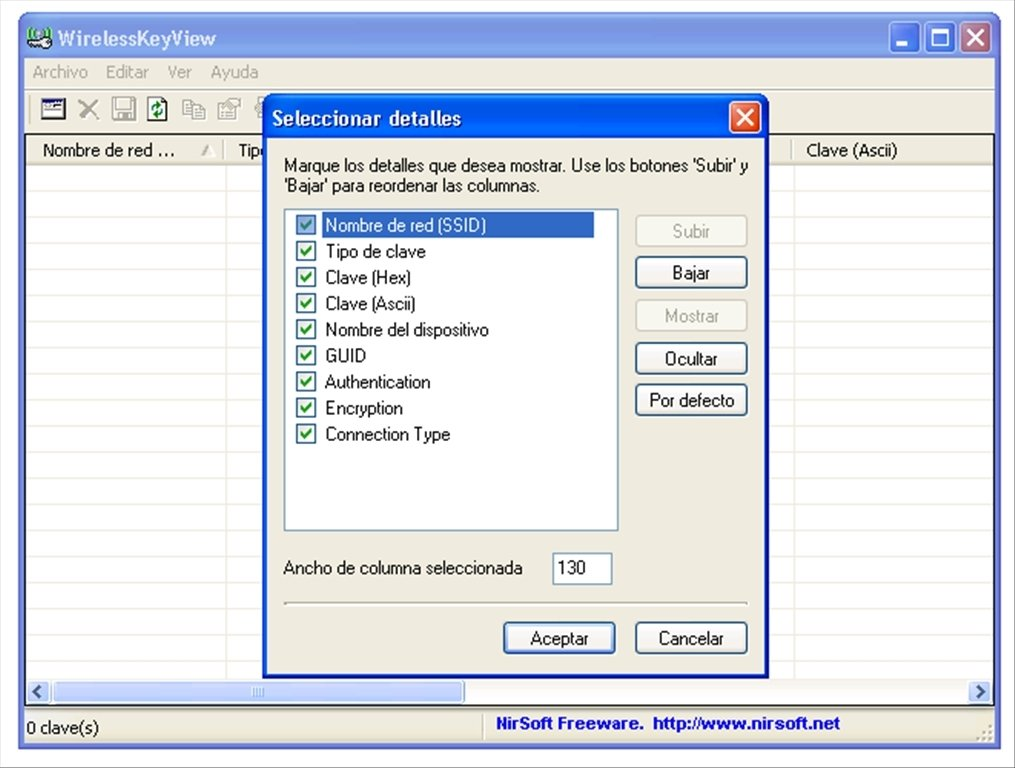 wirelesskeyview pour windows 8