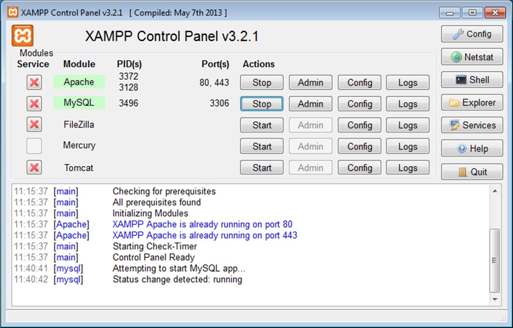XAMPP 5.6.3