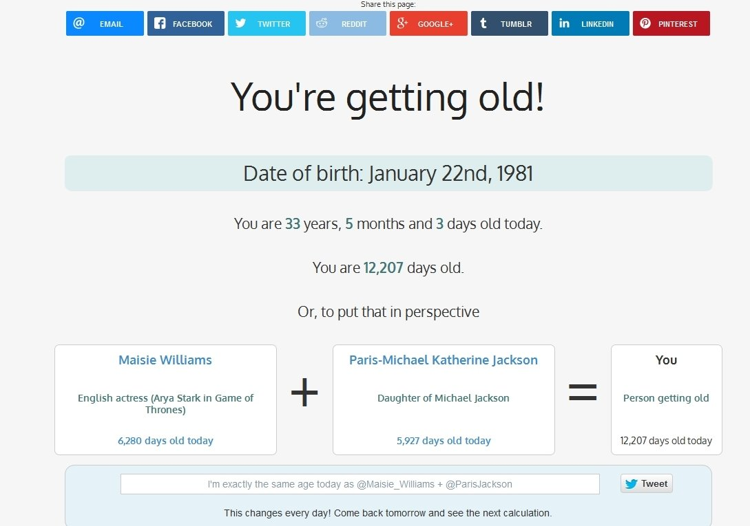 You're getting old! Webapps image 4
