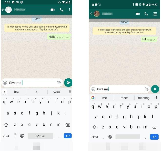 A chat window in both YOWhatsApp and WhatsApp Plus