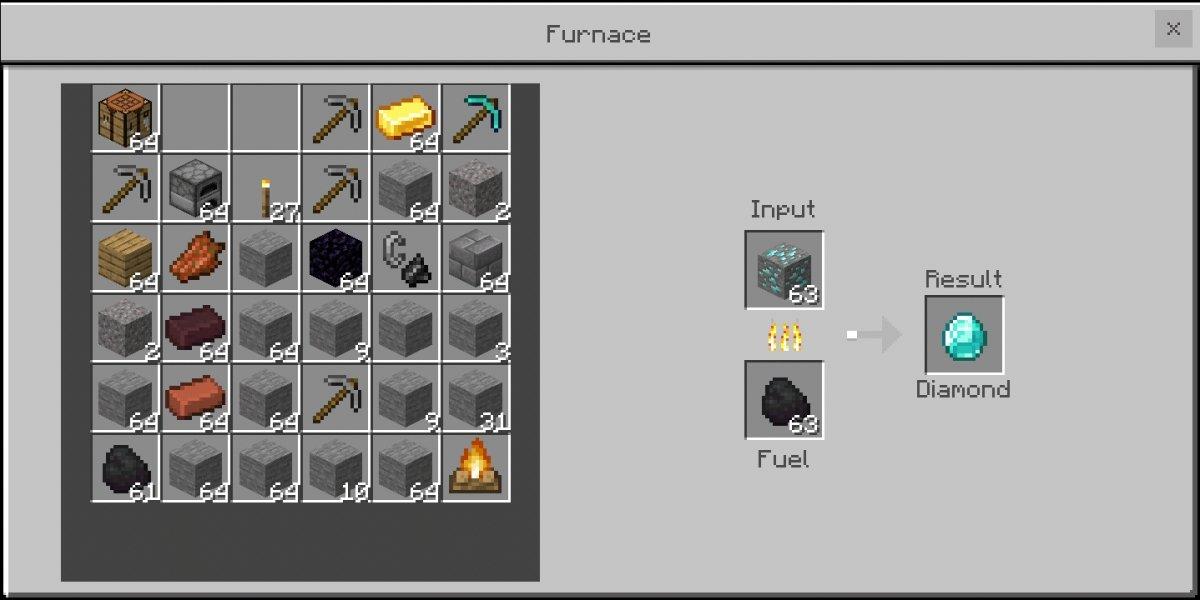 Una mena de diamante fundida en un horno