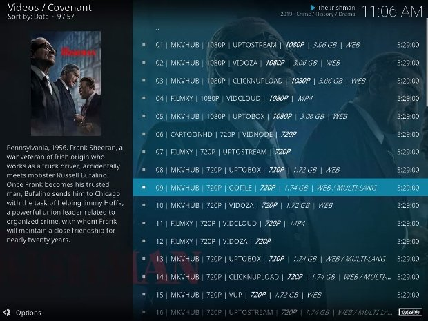 A movie offered through a Kodi add-on