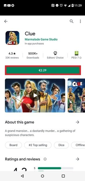 Paiement d'un jeu dans Google Play