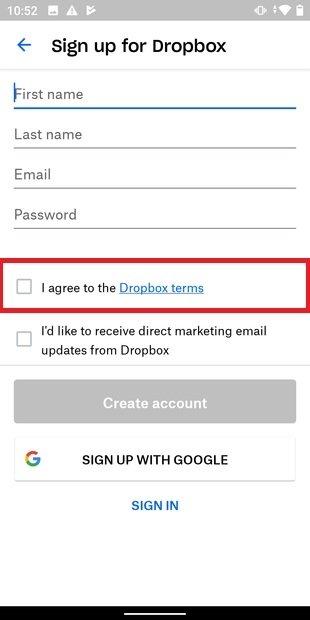 Aceptar condiciones de uso en Dropbox