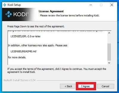 Accept the software license agreement
