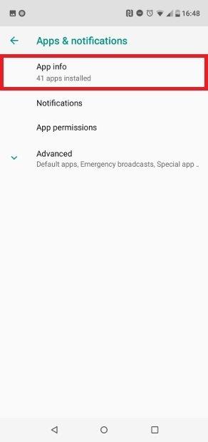 Gehe auf App Info