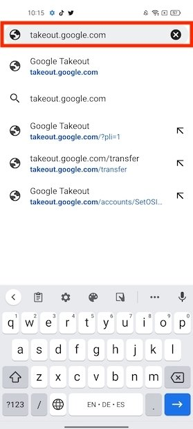 Acceder a Google Takeout
