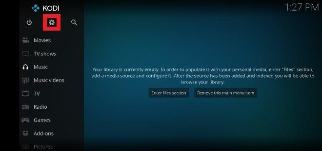 Access Kodi's settings from the home screen