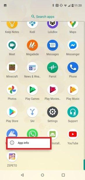 Access the App Info menu