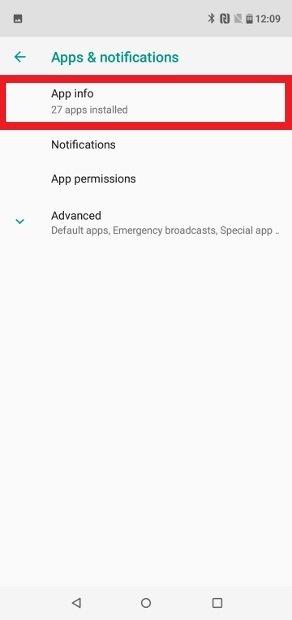Zugriff auf das Menü App Info
