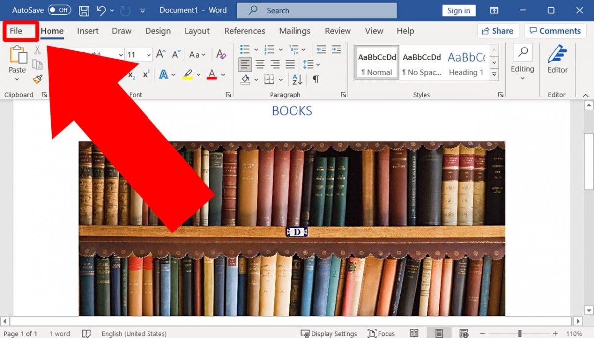Access the File menu