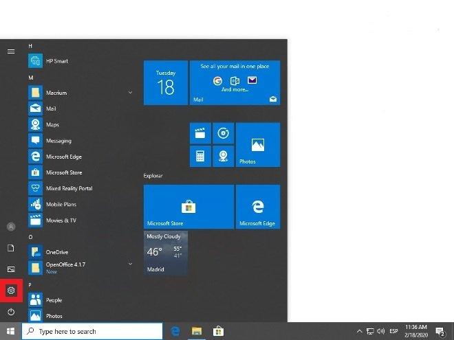 Entra en la configuración de Windows 10