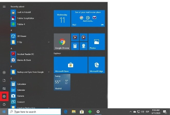 Entra en la configuración de Windows 10