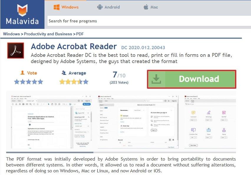 Acceso a la descarga de Adobe Acrobat Reader