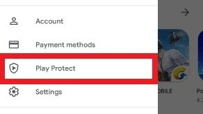 Acessar Play Protect nas opções do Google Play