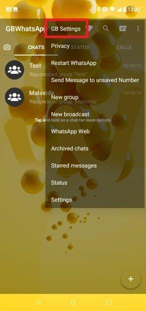 Norah ModsまたはGB Settingsメニューへのアクセス