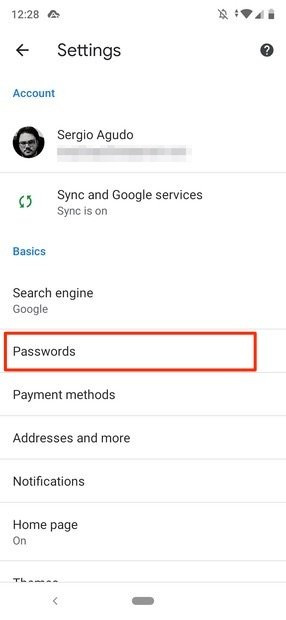 Access to the password menu
